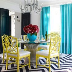 Dining Room with Mixed and Matched Colors and Patterns.  / Black & White + Turquoise and Yellow