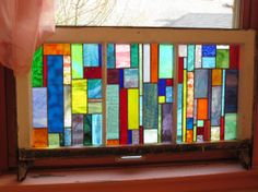 CUSTOM ORDERED Vintage Chicago Bungalow 3 Pane Windows with new handmade stained glass via Etsy
