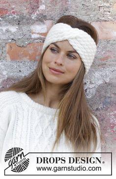 knit headband pattern Waiting for Snow Headband / DROPS - Gestricktes Stirnband mit Zopfmuster in DROPS Merino Extra Fine oder DROPS Karisma. Loom Knitting Patterns, Knitting Designs, Free Knitting, Free Crochet, Crochet Patterns, Drops Karisma, Knitted Hats, Crochet Hats, Easy Crochet Headbands