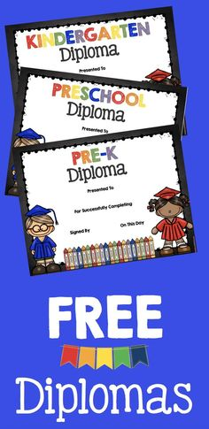 Adorable FREE graduation diplomas for Preschool - Pre-K - Kindergarten -- These make your ceremony so sweet! Students and parents love them!