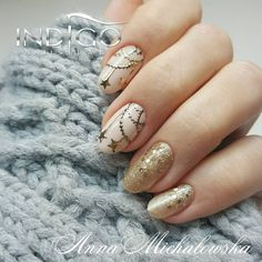 Mega świąteczne pazurki od Ani Michałowskiej Indigo Educator Radom w kolorach  Indigo Gel Polish: First Lady, Oh my gold ☄ #indigonails #indigolicious #inspiration #instamoment #summernails #sweetnails #cutenails #beautifulnails #coolnails #goodnails #gorgeousnails #goodmorning #follow #follows #paznokcie #pazurki #paznokciezelowe #nail #nails #nailart #nails4yummies #christmasnails #paznokcie