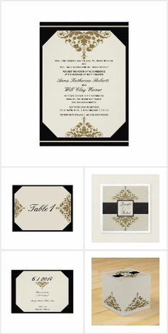 This beautiful and elegant design, called Ivory Black and Gold Damask Wedding, has an ivory background with a black border and corners. There are gold coordinating damask embellishments on each piece. Invitation Set, Wedding Invitations, Damask Wedding, Wedding Suits, Black Gold, Reception, Ivory, Place Card Holders, Frame