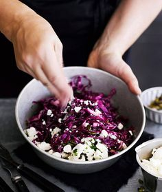 Red cabbage and feta salad