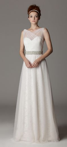 Style 289. Sweetheart strapless wedding dress with illusion neckline.  Made in USA.  Ariadress.com