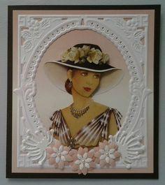 Voorbeeldkaart - mooie dame - Categorie: Hand-Snijtechnieken - Hobbyjournaal uw hobby website