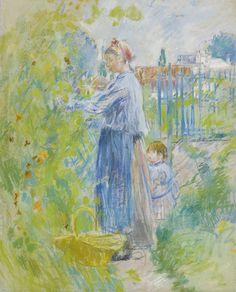 Mother and Child Picking Nasturtiums - Berthe Morisot (French, Impressionism Manet, Mary Cassatt, Camille Pissarro, Claude Monet, Anime Comics, Berthe Morisot, French Impressionist Painters, Photo D Art, Pierre Auguste Renoir
