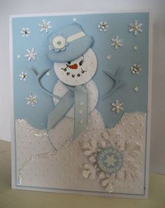 Love the snowman's hat...made from SU's tab punch, needs to be a black hat.