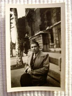 Vintage French Photo  Man on a Bench in a French by ChicEtChoc, $3.00