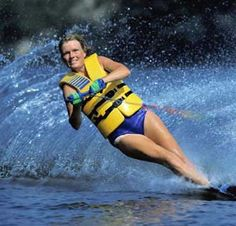 Waterskiing- anyone remember those old lifejackets...had one when I was a kid!