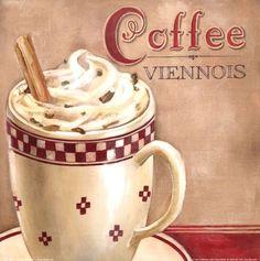 Coffee Viennois Art Print by Elisa Raimodi at Urban Loft Art Mehr Coffee Cup Art, Coffee Wine, I Love Coffee, Coffee Images, Coffee Pictures, Decoupage Coffee Table, Tea Cocktails, Wine Drinks, Beverages