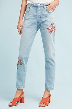 Citizens of Humanity Liya Ultra High-Rise Straight Embroidered Jeans