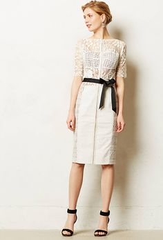 """Brides.com: 44 Little White Dresses You Can Buy Right Now """"Carissima"""" sheath, $258, Byron Lars available at AnthropologiePhoto: Courtesy of Anthropologie"""