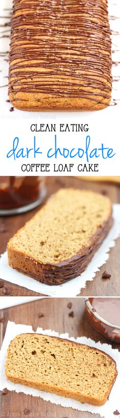 Clean-Eating Coffee Loaf Cake + Dark Chocolate Drizzle // Easy, no mixer required. Under 150 calories per serving Healthy Cake, Healthy Baking, Healthy Desserts, Fun Desserts, Delicious Desserts, Yummy Treats, Yummy Food, Baking Recipes, Cake Recipes