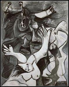 L'enlèvement des Sabines (The Rape of the Sabines), 1962 _ Pablo Picasso Art Picasso, Picasso Paintings, Oil Paintings, Malaga, Cubist Movement, Spanish Painters, Plastic Art, Expositions, Figure Painting