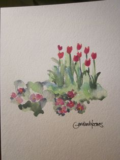 Tulips Watercolor Card  Will have to check out her store on Etsy
