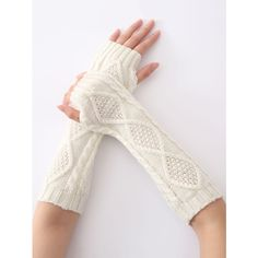 Christmas Winter Diamond Hollow Out Crochet Knit Arm Warmers (225 RUB) ❤ liked on Polyvore featuring accessories, gloves, knit gloves, crochet gloves, knit arm warmers, arm warmer gloves and christmas gloves