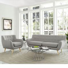 Remark 2-Piece Mid Century Living Room Sofa Set