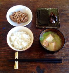 Japanese meal with natto 納豆