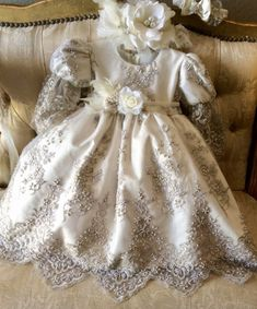 Christening Lace Dress - Lacroix – Elena Collection Baby Girl Christening, Christening Gowns, 1st Birthday Outfits, Baby Gown, Lace Headbands, Girl Doll Clothes, Toddler Dress, Special Occasion Dresses, Dress Making