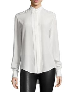 TBGR2 Joseph Ambrosie Pleated-Front Silk Shirt, Ivory