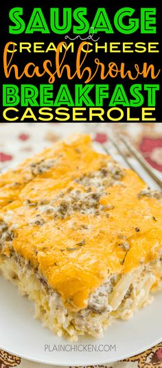 Sausage & Cream Cheese Hashbrown Breakfast Casserole - all of my favorite breakfast foods in one easy casserole! Frozen hashbrowns, sausage, cream cheese, eggs and cheddar cheese. Can make ahead of time and refrigerate or freeze for later. Can split between two pans and bake one and freeze one for later. This breakfast casserole is great for breakfast, lunch, great for brunch, potlucks, tailgating and any upcoming holiday breakfasts! SO GOOD!