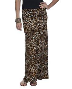 Wet Seal Womens Leopard Foldover Maxi Skirt