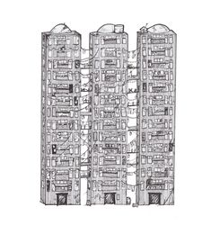 An ink illustration of the three towers in Kingston, the fictional city from my novel, Sour Fruit. It is a dark dystopian novel set in northern Britain, in a river city called Kingston; a rotting scrap yard of misery. The river is a constant threat from flooding so the locals build passageways and bridges between the building so they can move around when it floods. Ink Illustrations, Illustration Art, Drawing Sketches, Art Drawings, Sour Fruit, Bridges, Novels, Scrap, Artwork Ideas
