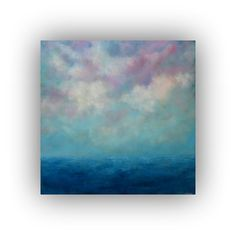 Original Oil Painting- Large 36 x 36 Blue and Purple Abstract Seascape- Sky Clouds and Ocean Palette Knife Art on Canvas