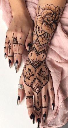 Henna Tribal Bohemian Hand Tattoo Ideas for Women - Realistic Rose Forearm., Black Henna Tribal Bohemian Hand Tattoo Ideas for Women - Realistic Rose Forearm.,Black Henna Tribal Bohemian Hand Tattoo Ideas for Women - Realistic Rose Forearm. Irezumi Tattoos, Forearm Tattoos, Finger Tattoos, Sleeve Tattoos, Henna Sleeve, Side Tattoos, Henna Tattoo Hand, Tribal Hand Tattoos, Henna Tattoo Designs Arm