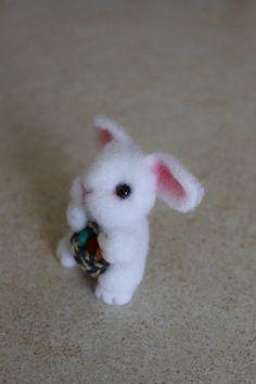 white Easter bunny gift easter eggs Needle by wooltoysUkraine