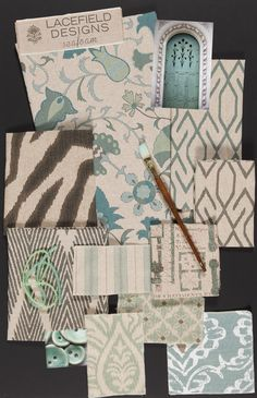 Lacefield Designs Seafoam #Textile #MoodBoard - December 2012 #textiletrends www.lacefielddesigns.com