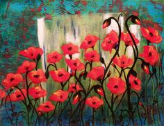 Red Poppies Semi-Abstract Landscape 14x11 Acrylic by BrushAddict