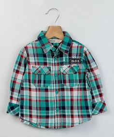 Another great find on #zulily! Teal & Green Check Button-Up - Infant & Toddler by Beebay #zulilyfinds