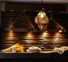 Decorative Wooden Wall Tiles, Rustic Beam Lights by Wooden Wall Tiles, Decorative Wall Tiles, Wood Mosaic, Wooden Wall Decor, Mosaic Tiles, Wood Wall, Ceiling Pendant, Ceiling Lights, Cafe Wall
