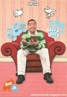 Nickelodeon UK's Blue's Clues promotional postcard, featuring Blue and her UK host, Kevin Duala.