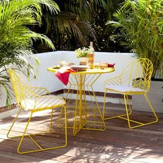 loving this yellow patio set from West Elm