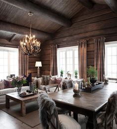 FINN Særdeles vakker tømmerhytte 3 bad ski inn/out til alpin/langrenn og Cabin Interiors, Rustic Interiors, Chalet Interior, Interior Design, Construction Chalet, Log Cabin Homes, Home Living, Living Room, Beautiful Homes