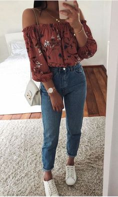 jeans and off the shoulder top