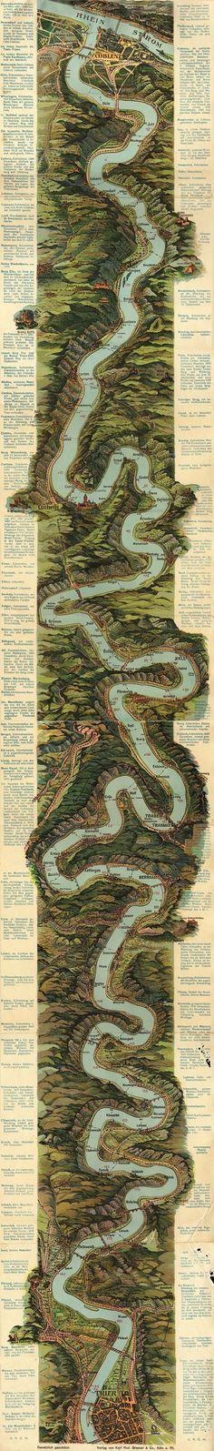 El río Mosela, Alemania, alrededor de 1930