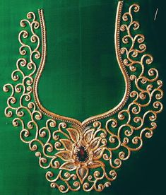 Designer Blouse Images: Zardosi Work Blouse Source by vijayashahnaz work Zardosi Work Design, Zardosi Work Blouse, Maggam Work Designs, Hand Work Blouse Design, Simple Blouse Designs, Bridal Blouse Designs, Embroidery Neck Designs, Bead Embroidery Patterns, Bead Embroidery Tutorial