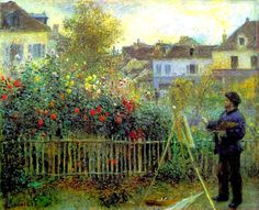 Claude Monet Painting in His Garden at Argenteuil - Pierre-Auguste Renoir What could be better? Renoir painting Monet :) R McN Pierre Auguste Renoir, Jean Renoir, Edouard Manet, Claude Monet, Camille Pissarro, Impressionist Paintings, Landscape Paintings, Charles Gleyre, Monet To Matisse