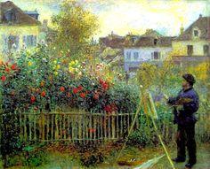 "Pierre-Auguste Renoir -      ""Monet painting in his garden at Argenteuil"", 1873"