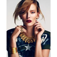 Charlotte Cordes Goes for the Gold in Emre Guven's Vogue Turkey Shoot ❤ liked on Polyvore