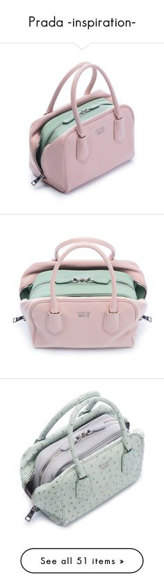 """Prada -inspiration-"" by dolly-valkyrie ❤ liked on Polyvore featuring bags, handbags, tote bags, pink handbags, prada purses, prada handbags, prada tote, prada, pink purse and pink bag"