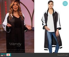 79c03d3a2cce Wendy s black and white kimono jacket on The Wendy Williams Show