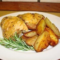 Crispy Rosemary Chicken and Fries - Did fingerling potatoes and thighs and legs instead. The kids loved it.