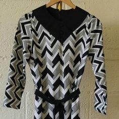 2aecf2df67d Vintage Black White Midi Dress Mod Girl 60s Style Chevron Stripe Joan  Curtis Vintage Dresses