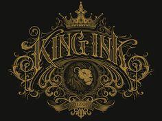 King Ink vector by Martin Schmetzer Graffiti Lettering Fonts, Tattoo Lettering Fonts, Lettering Styles, Lettering Design, Vintage Logo Design, Vintage Fonts, Vintage Typography, Typography Logo, Word Art
