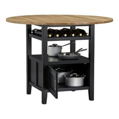 If your kitchen is closet-sized, Crate & Barrel'sBelmont High Dining Table ($499) will comfortably seat four for dinner while storing up to 10 wine bottles on its slatted shelf and any other cooking essentials on its open fixed shelf and recessed storage cabinet. Better yet, when you're not dining, the dropleaf tabletop folds down to make more room for the chef!