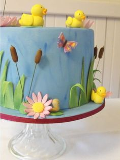 Duck pond cake created for a five year old little girl. 1 Year Old Birthday Cake, 1 Year Old Cake, Baby Girl Birthday Cake, Bithday Cake, First Birthday Cakes, 2nd Birthday, Birthday Ideas, Rubber Duck Cake, Pond Cake